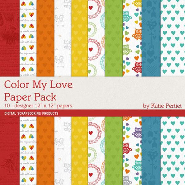 Color My Love Paper Pack Digital Art - Digital Scrapbooking Kits