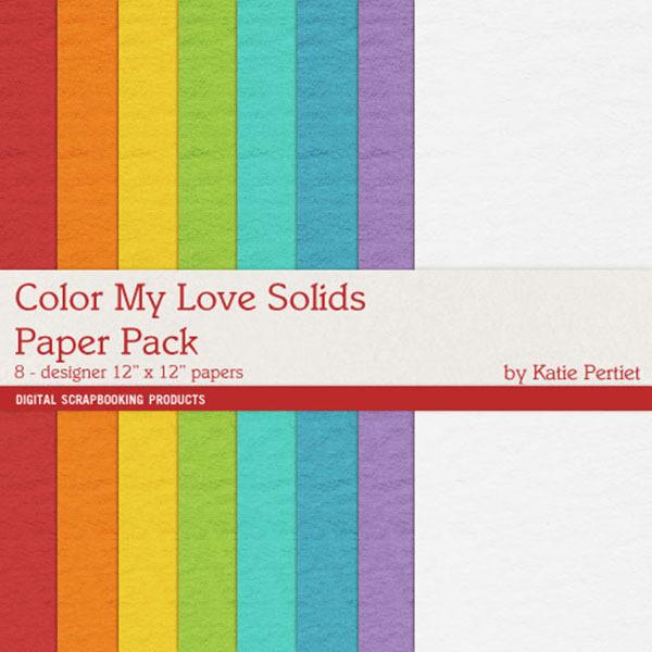 Color My Love Solids Paper Pack Digital Art - Digital Scrapbooking Kits