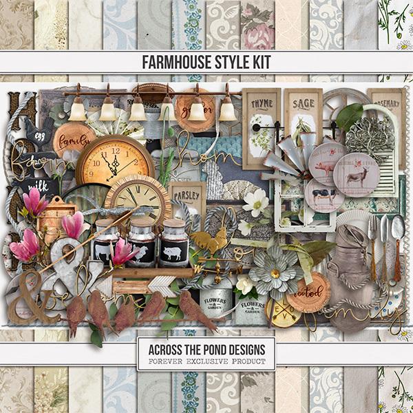 Farmhouse Style Kit Digital Art - Digital Scrapbooking Kits