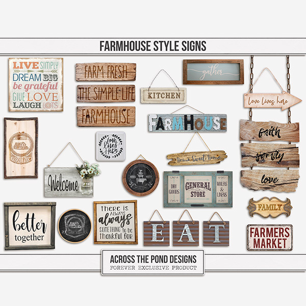 Farmhouse Style Signs Digital Art - Digital Scrapbooking Kits