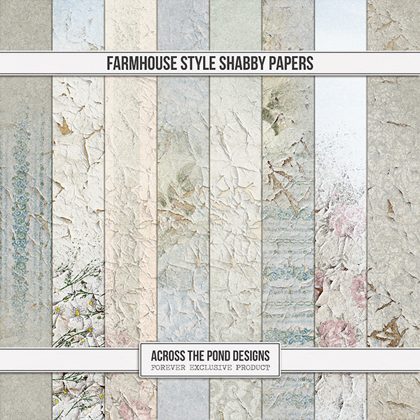 Farmhouse Style Shabby Papers Digital Art - Digital Scrapbooking Kits