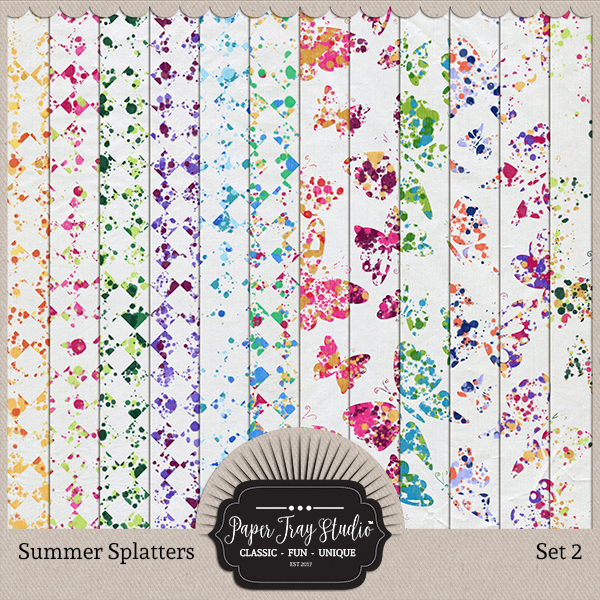 Summer Splatters Set 2 Digital Art - Digital Scrapbooking Kits