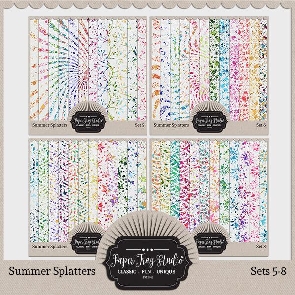 Summer Splatters Sets 5-8 Digital Art - Digital Scrapbooking Kits