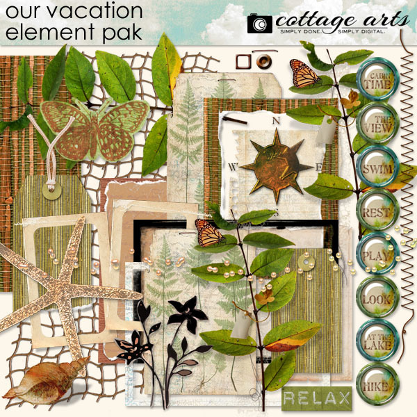 Our Vacation Element Pak Digital Art - Digital Scrapbooking Kits