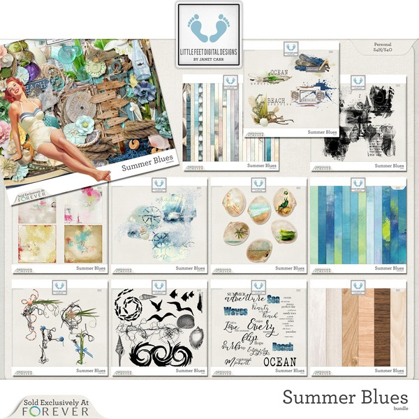 Summer Blues Bundle Digital Art - Digital Scrapbooking Kits