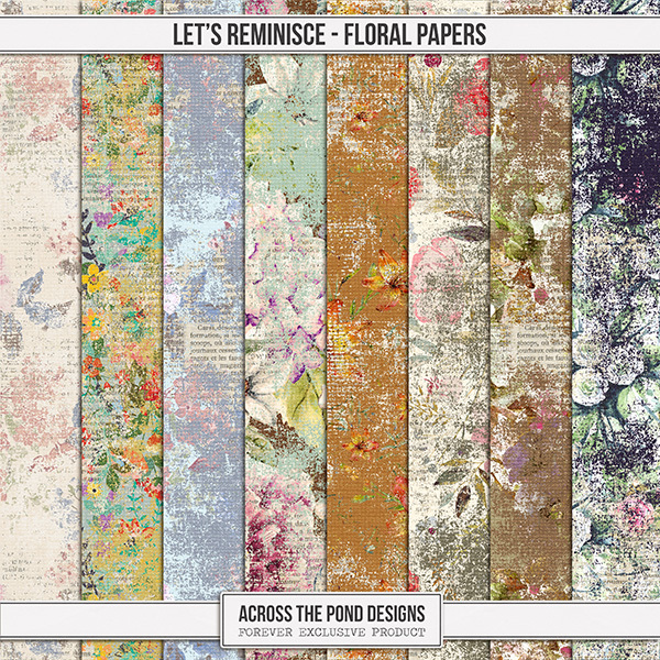 Let's Reminisce Floral Papers Digital Art - Digital Scrapbooking Kits