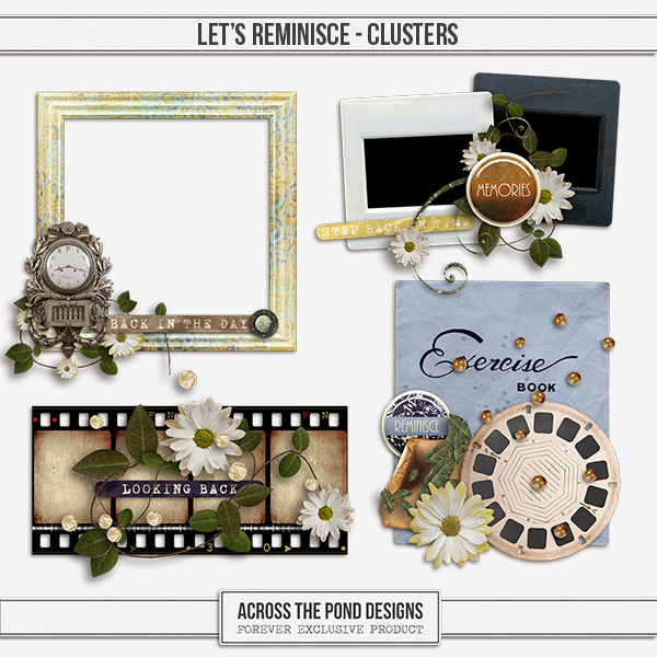 Let's Reminisce Clusters Digital Art - Digital Scrapbooking Kits