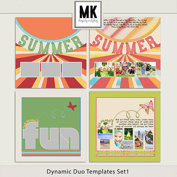 Dynamic Duo Templates Set 1 Digital Art - Digital Scrapbooking Kits