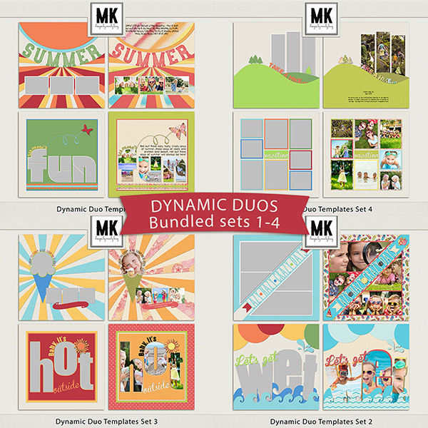 Dynamic Duo Templates Sets 1-4 Digital Art - Digital Scrapbooking Kits