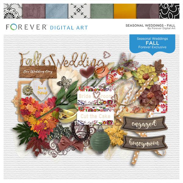 Seasonal Weddings - Fall Digital Art - Digital Scrapbooking Kits