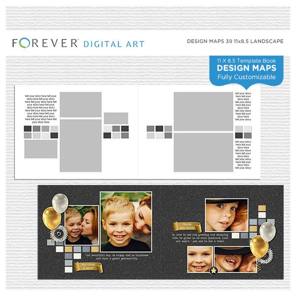 Forever Design Maps 39 11x8.5 Digital Art - Digital Scrapbooking Kits