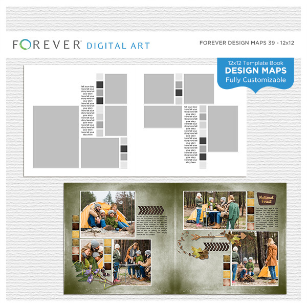 Forever Design Maps 39 12x12 Digital Art - Digital Scrapbooking Kits