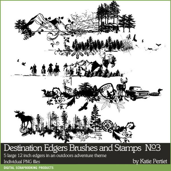 Destination Edgers No. 03 Brushes and Stamps Digital Art - Digital Scrapbooking Kits