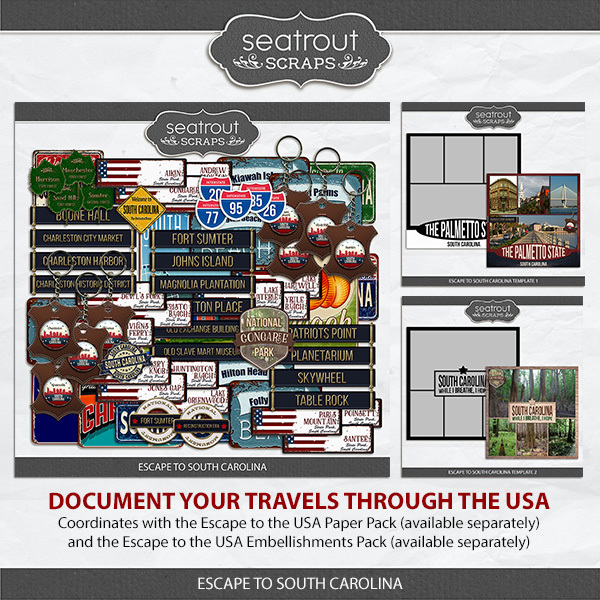 Escape to South Carolina Digital Art - Digital Scrapbooking Kits