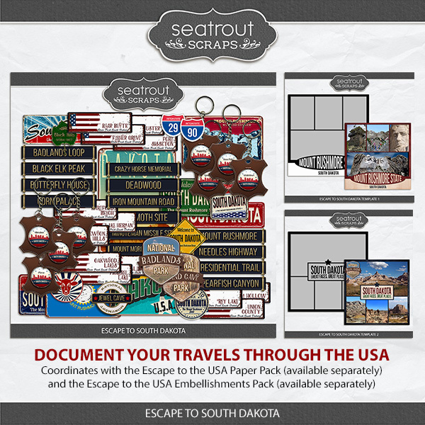 Escape to South Dakota Digital Art - Digital Scrapbooking Kits