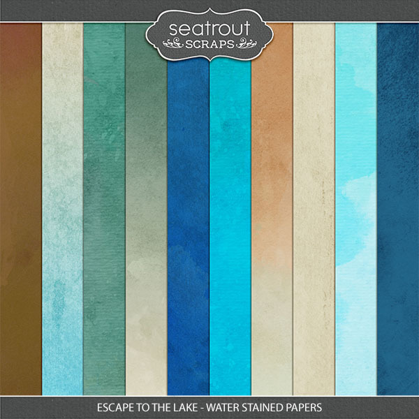 Escape to the Lake Waterstained Papers Digital Art - Digital Scrapbooking Kits
