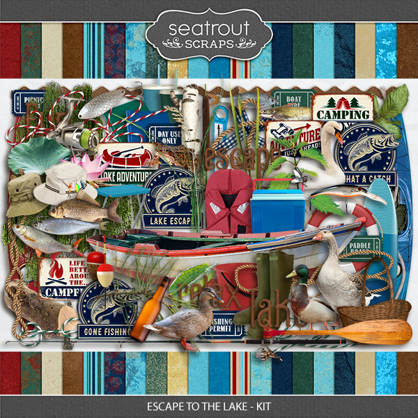 Escape to the Lake Kit Digital Art - Digital Scrapbooking Kits