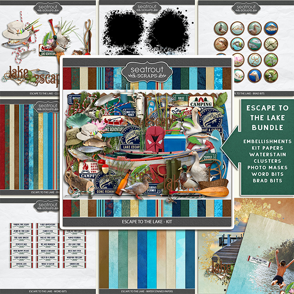 Escape to the Lake Bundle Digital Art - Digital Scrapbooking Kits