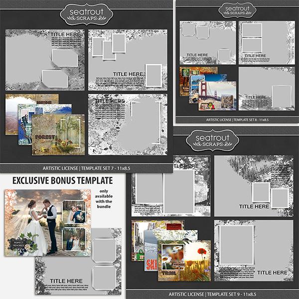 Artistic License Bonus Bundle 3 - 11x8.5 Digital Art - Digital Scrapbooking Kits