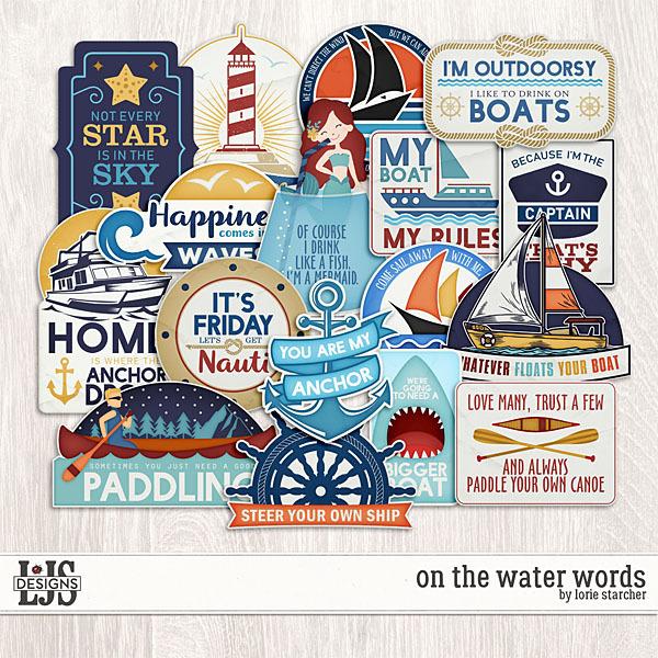 On The Water - Words Digital Art - Digital Scrapbooking Kits