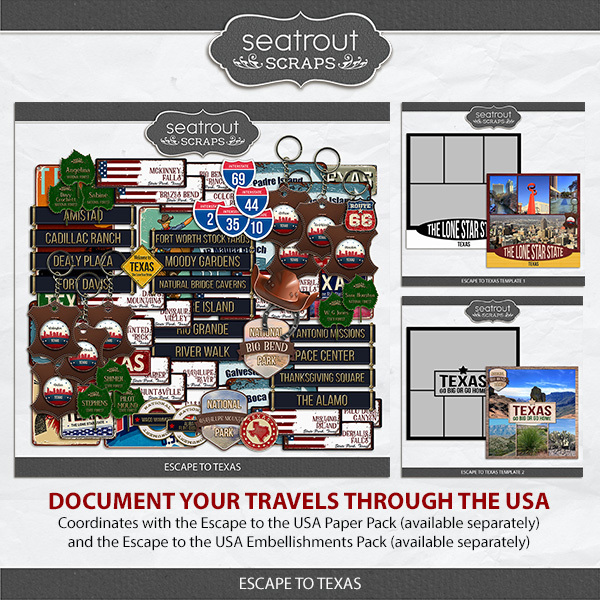Escape to Texas Digital Art - Digital Scrapbooking Kits