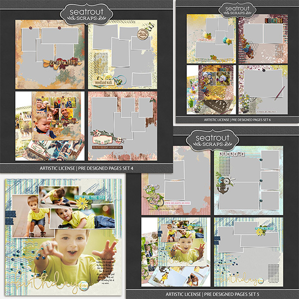 Artistic License Pre Designed Pages Bundle 2 Digital Art - Digital Scrapbooking Kits
