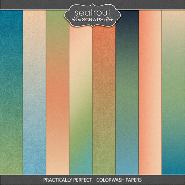 Practically Perfect Colorwash Papers Digital Art - Digital Scrapbooking Kits