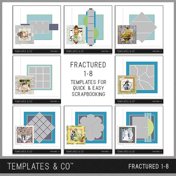 Fractured 1-8 Digital Art - Digital Scrapbooking Kits