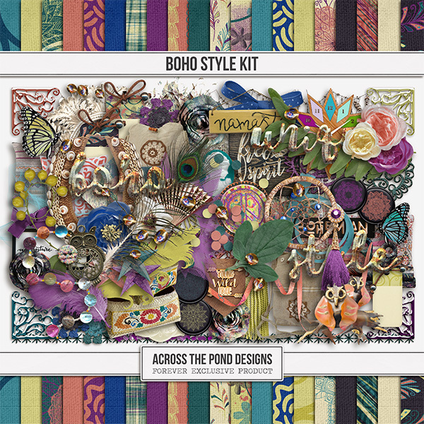 Boho Style Kit Digital Art - Digital Scrapbooking Kits