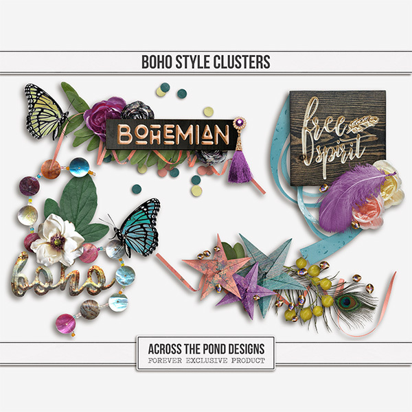 Boho Style Clusters Digital Art - Digital Scrapbooking Kits