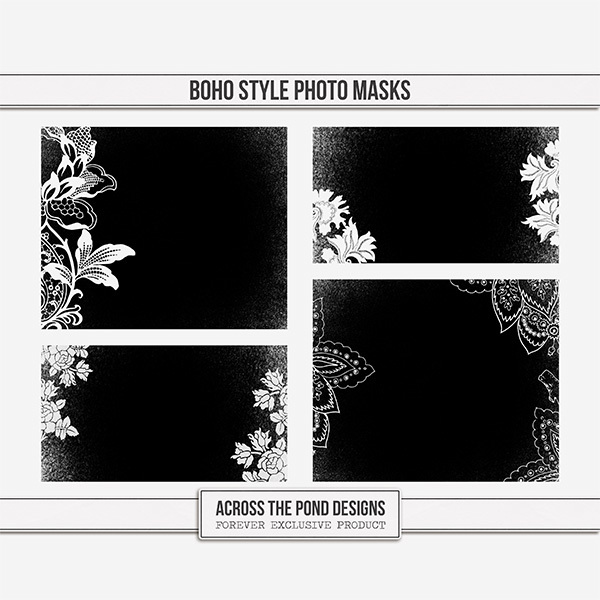 Boho Style Photo Masks Digital Art - Digital Scrapbooking Kits