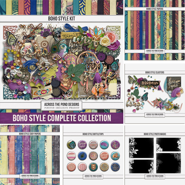 Boho Style Complete Collection Digital Art - Digital Scrapbooking Kits