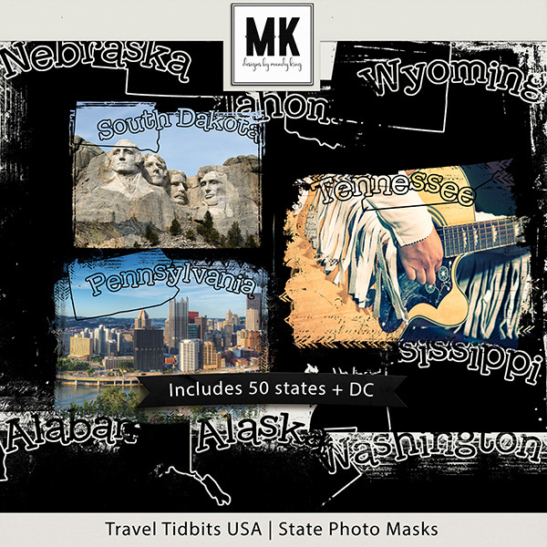 Travel Tidbits USA States Photo Masks Digital Art - Digital Scrapbooking Kits