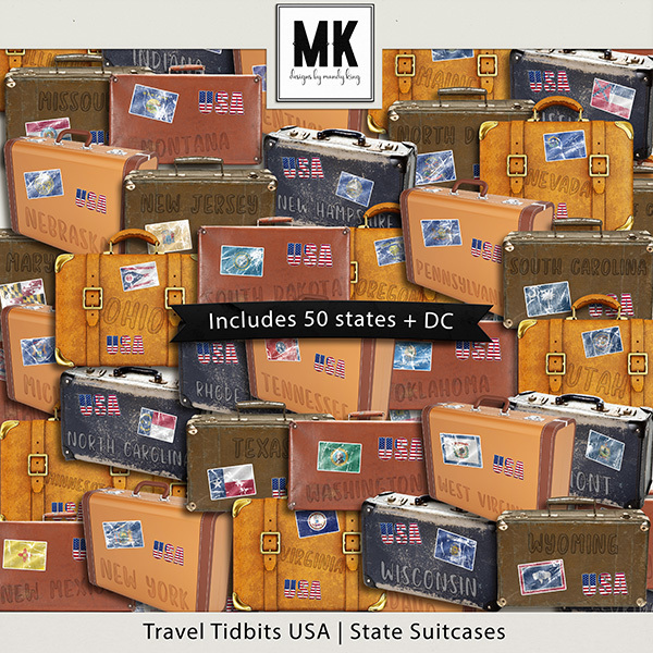 Travel Tidbits USA States Suitcases Digital Art - Digital Scrapbooking Kits