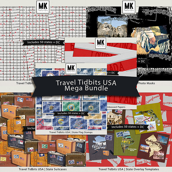 Travel Tidbits USA Mega Bundle Digital Art - Digital Scrapbooking Kits