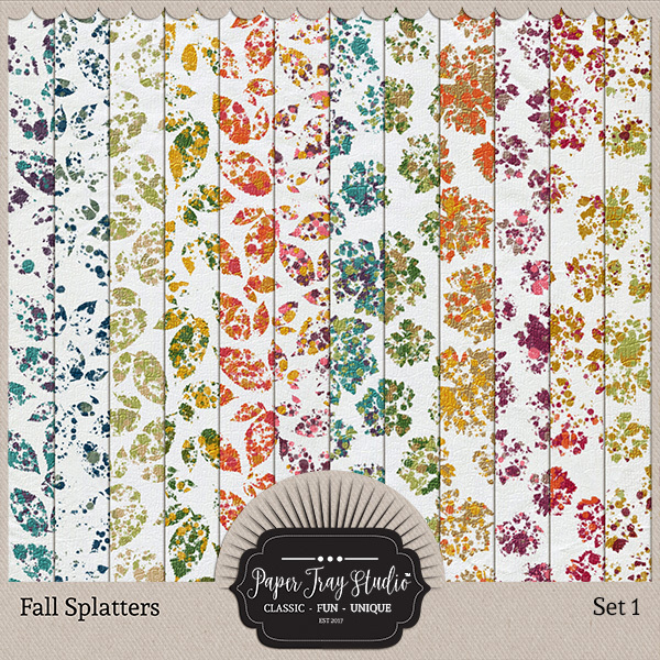 Fall Splatters Set 1 Digital Art - Digital Scrapbooking Kits