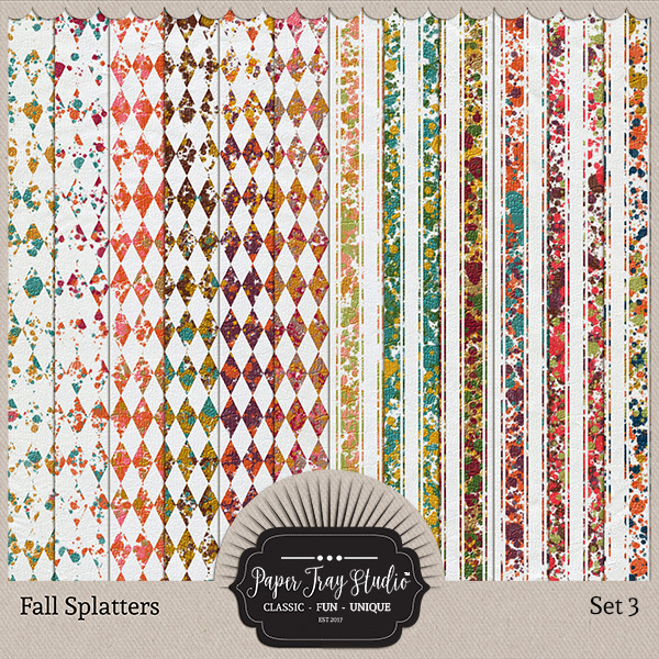 Fall Splatters Set 3 Digital Art - Digital Scrapbooking Kits