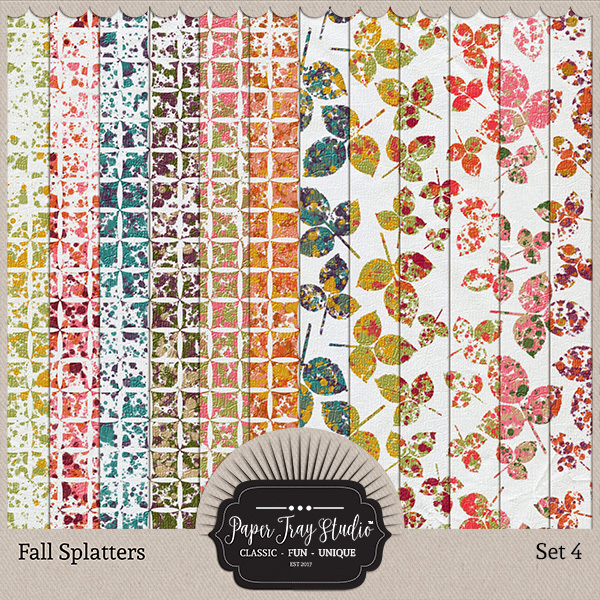 Fall Splatters Set 4 Digital Art - Digital Scrapbooking Kits