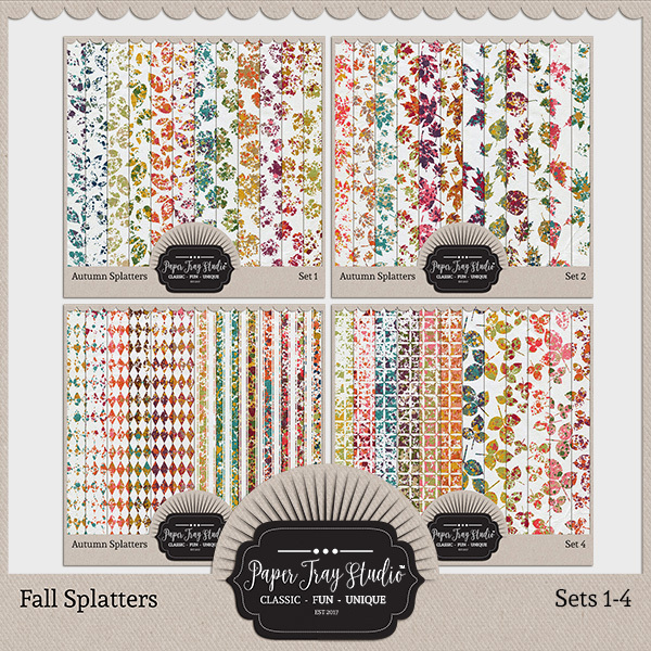 Fall Splatters Sets 1-4 Digital Art - Digital Scrapbooking Kits