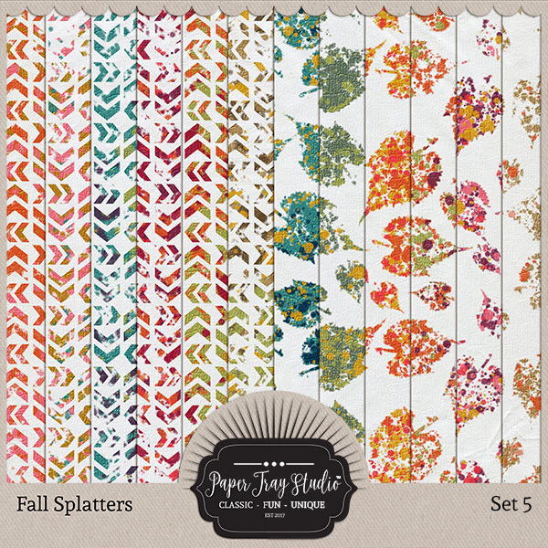 Fall Splatters Set 5 Digital Art - Digital Scrapbooking Kits
