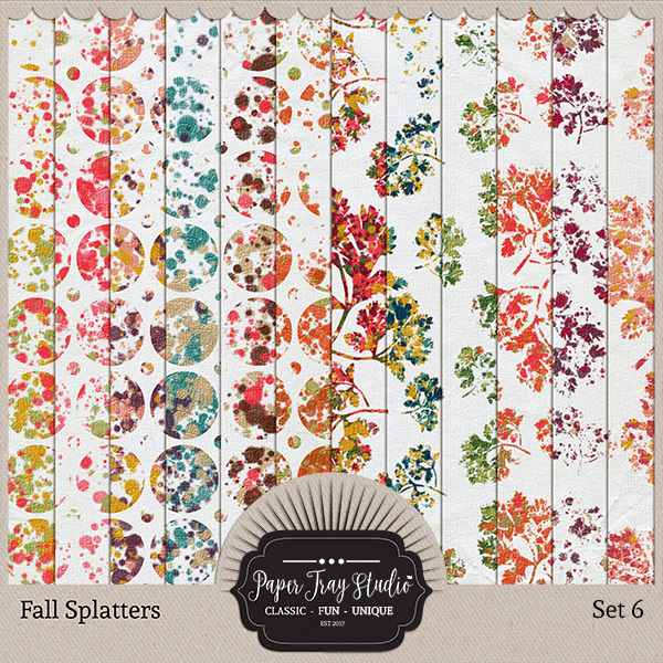Fall Splatters Set 6 Digital Art - Digital Scrapbooking Kits