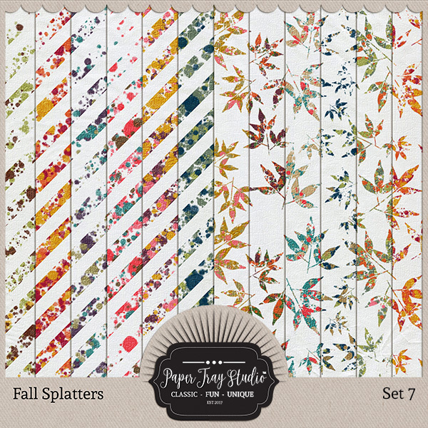 Fall Splatters Set 7 Digital Art - Digital Scrapbooking Kits