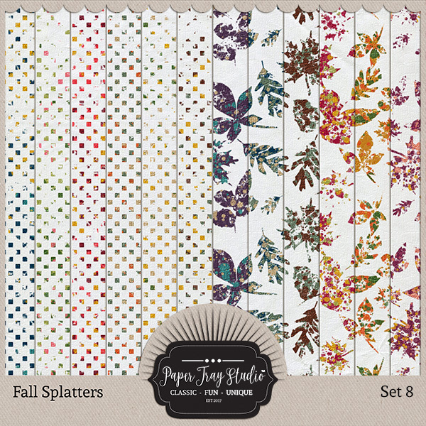 Fall Splatters Set 8 Digital Art - Digital Scrapbooking Kits