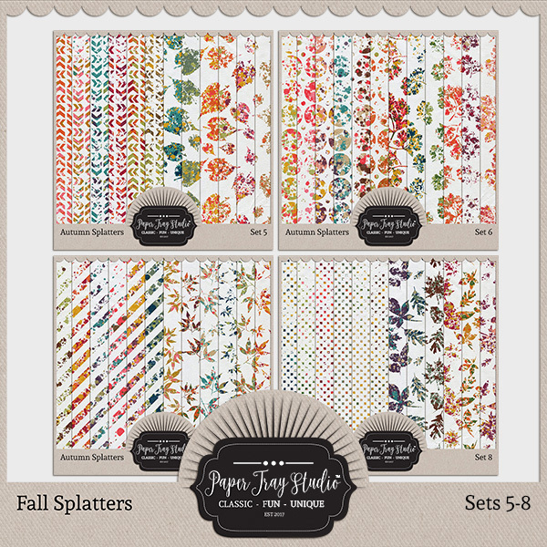 Fall Splatters Sets 5-8 Digital Art - Digital Scrapbooking Kits