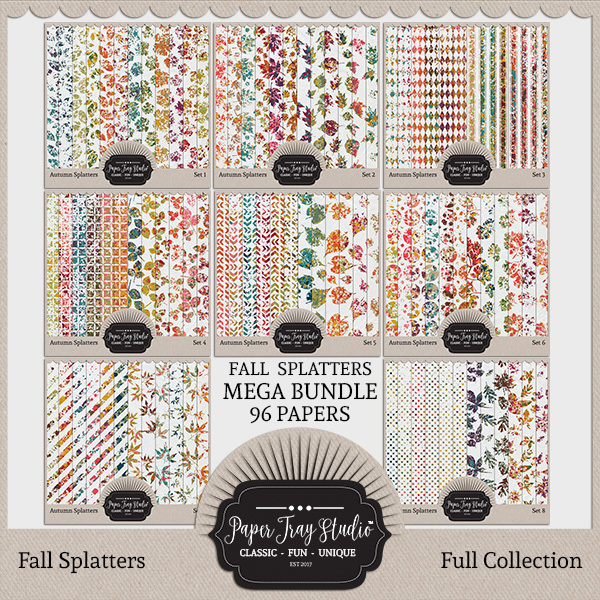 Fall Splatters Sets 1-8 Digital Art - Digital Scrapbooking Kits