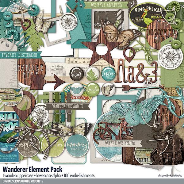 Wanderer Element Pack Digital Art - Digital Scrapbooking Kits