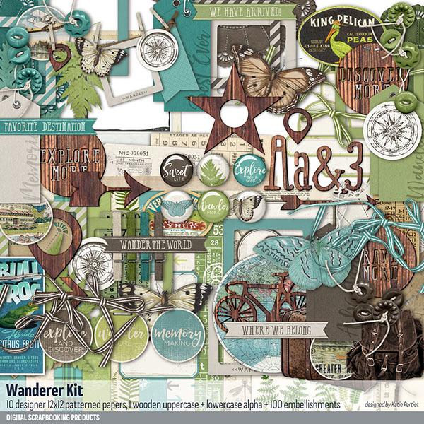 Wanderer Scrapbook Kit Digital Art - Digital Scrapbooking Kits