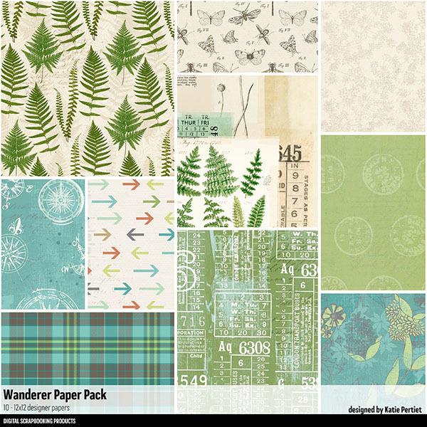 Wanderer Paper Pack Digital Art - Digital Scrapbooking Kits