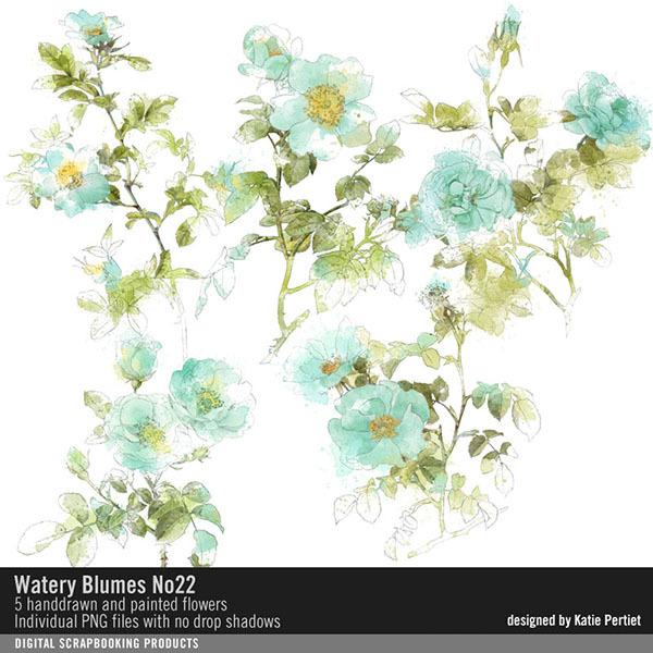 Watery Blumes No. 22 Digital Art - Digital Scrapbooking Kits
