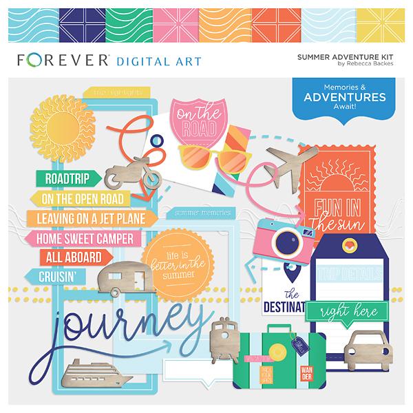 Summer Adventure Kit Digital Art - Digital Scrapbooking Kits